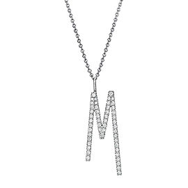 "Mimi So Type Letter ""M"" Pave Diamond Pendant"