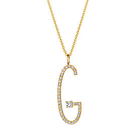 "Mimi So Type Letter Pave ""G"" Pendant"