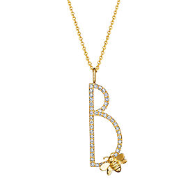 "Mimi So Type Letter Pave ""B"" Pendant"