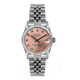Rolex Women's Datejust Midsize Stainless Steel Fluted Custom Pink Diamond Dial