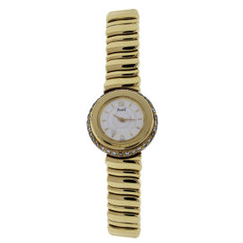 Piaget 20123 18K Yellow Gold 0.65ct. Diamond Bezel 25mm Womens Watch