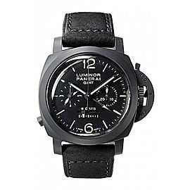 Panerai Luminor PAM00317 Black Ceramic / Leather 44mm Mens Watch