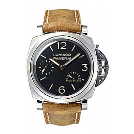 Panerai Luminor Stainless Steel / Leather with Black Dial 47mm Mens Watch
