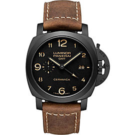 Panerai Luminor Titanium / Leather with Black Dial 44mm Mens Watch
