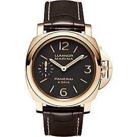 Panerai Luminor Marina PAM00511 18K Rose Gold / Leather 44mm Mens Watch