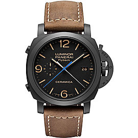 Panerai Luminor PAM00580 Black Ceramic / Leather Automatic 44mm Mens Watch