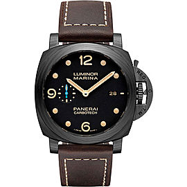 Panerai Luminor Marina P9010 Carbotech / Brown Leather Automatic 44mm Mens Watch