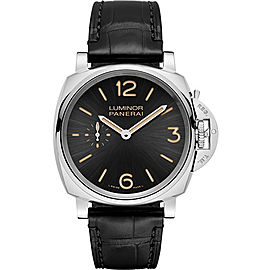 Panerai Luminor Stainless Steel / Leather with Black Dial 42mm Mens Watch