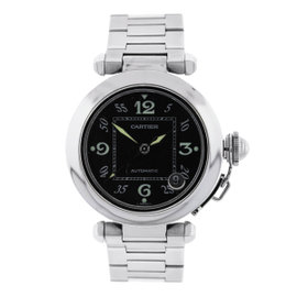 Cartier Pasha C Black Dial Stainless Steel 35mm Mens Watch
