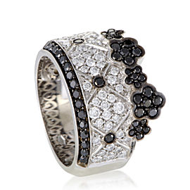 Pasquale Bruni Lulu 18K White Gold Black and White Diamond Band Ring Size 7.0