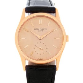 Patek Philippe Calatrava 3796 18K Rose Gold & Rose Dial 30.5mm Mens Watch