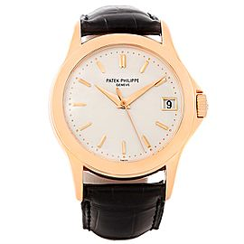 Patek Philippe Calatrava 5107R 18K Rose Gold & Leather Automatic 37mm Mens Watch
