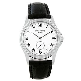 Patek Philippe Calatrava 5115 18K White Gold & Leather Manual 35mm Mens Watch