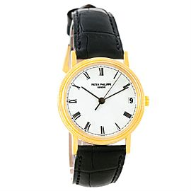 Patek Philippe Calatrava 3802 18K Yellow Gold & Leather Automatic 33mm Mens Watch