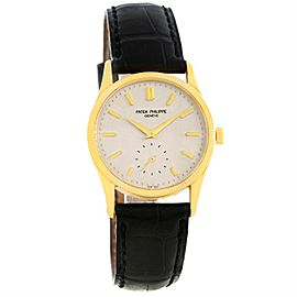 Patek Philippe Calatrava 3796 18K Yellow Gold Hobnail Bezel 30.5mm Mens Watch
