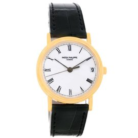 Patek Philippe Calatrava 3802 18K Yellow Gold Hobnail Bezel 33mm Mens Watch