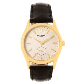 Patek Philippe Calatrava 5023 18K Yellow Gold & Leather Manual 33mm Mens Watch