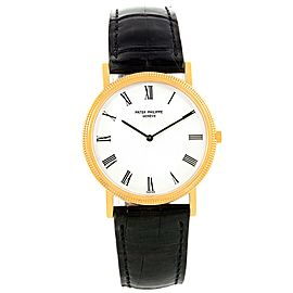 Patek Philippe Calatrava 3520 18K Yellow Gold & Leather Manual 32.2mm Mens Watch