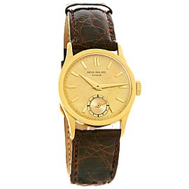Patek Philippe Calatrava 96 18K Yellow Gold & Leather Vintage 30mm Mens Watch