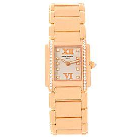 Patek Philippe Twenty-4 4910 18K Rose Gold Diamond 25mm Womens Watch