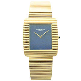 Patek Philippe Yellow Gold Lapis Lazuli Dial Wristwatch