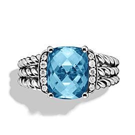 David Yurman Petite Sterling Silver Hampton Blue Topaz and 0.08 Ct Diamond Wheaton Ring Size 7.5