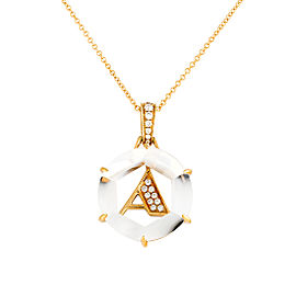 "18k Yg Diamond Initial ""a"" Pendant With Chain"