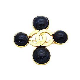 Chanel CC Logo Gold Tone Metal Navy Blue Stone Cross Pin Brooch