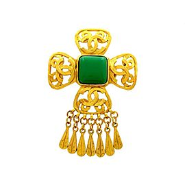 Chanel Gold Tone Hardware with Green Stone Cross Pin Brooch