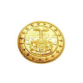 Chanel CC Logo Gold Tone Metal Pin Brooch