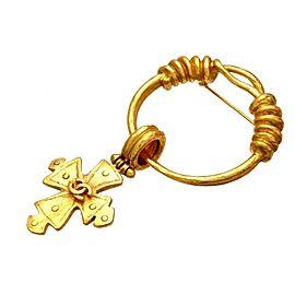 Chanel Gold Tone Metal Cross Dangle Pin Brooch