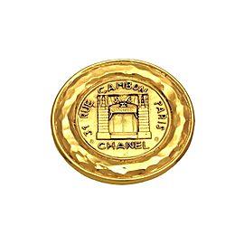 Chanel Gold Tone Metal 31 Rue Cambon Paris Medallion Pin Brooch