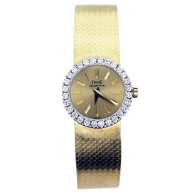 Piaget 18K Yellow Gold and Diamond Quartz 22mm Womens Watch
