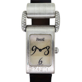 Piaget 18K White Gold & Leather Mother Of Pearl with Diamond 29mm Womens Watch