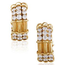 Piaget 18K Yellow Gold Diamond Hoop Clip-on Earrings
