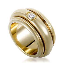 Piaget 18K Yellow Gold Rotating Diamond Solitaire Band Ring Size 6.25
