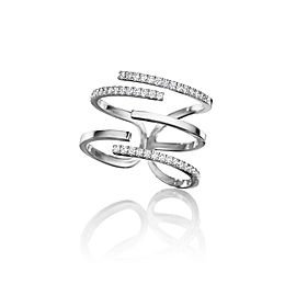 Piece Stick Diamond Pave Ring