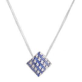 Pier Milano 18K White Gold Sapphire & Diamond Pave Pendant Necklace