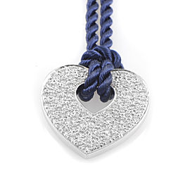 Poiray 18K White Gold Diamond Pendant & Royal Blue Cord Necklace