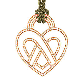 Poiray 18K Rose Gold Diamond Heart Pendant & Cord Necklace
