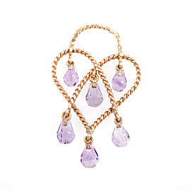 Poiray In Love Heart 18K Rose Gold & Amethyst Briolette Pendant