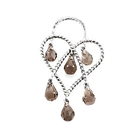 Poiray In Love Heart 18K White Gold & Smoky Quartz Briolette Pendant