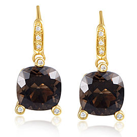 "Poiray ""Girls"" 18K Yellow Gold Diamond & Smoky Quartz Earrings"
