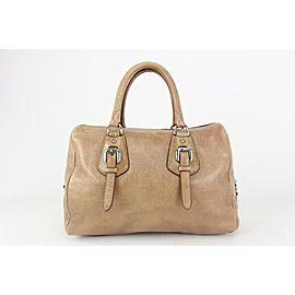 Prada Nude Cervo Lux Nudo Sparkle Leather Boston Bag 197pr713