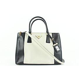 Prada Bicolor Black x White Saffiano Leather Lux Medium Tote 2way Bag 253pr5