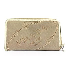 Prada Beige Zippy Wallet 335pr223