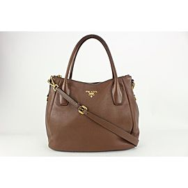 Prada Brown Daino Vitello Leather 2way ConvertibleTote Bag 818pr58