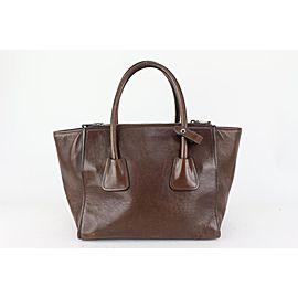 Prada Brown Leather Shopper Luxe Tote Bag 820pr93
