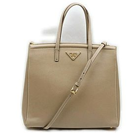 Prada Beige Saffiano Leather 2way LuxeTote Bag 862275