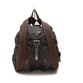 Prada Brown Tessuto Nylon Twin Pocket Backpack 863258
